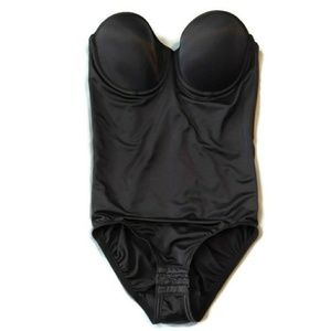 Flexees strapless body suit shape wear black 36c
